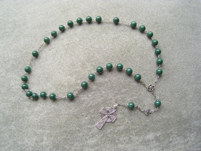 Green Mountain Jade Anglican Rosary Celtic Cross 8mm Beads