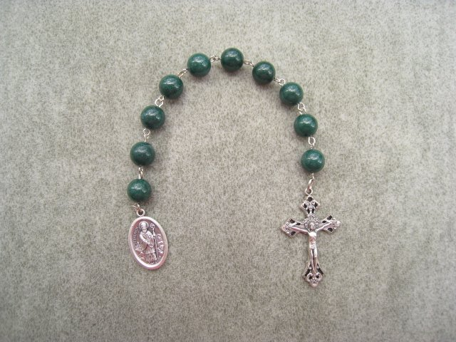 Green Mountain Jade Saint Patrick One Decade Chaplet Rosary Silver Crucifix 10mm Beads