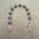 Blue Coral Guardian Angel Holy Family One Decade Chaplet Rosary Silver Crucifix 10mm Beads