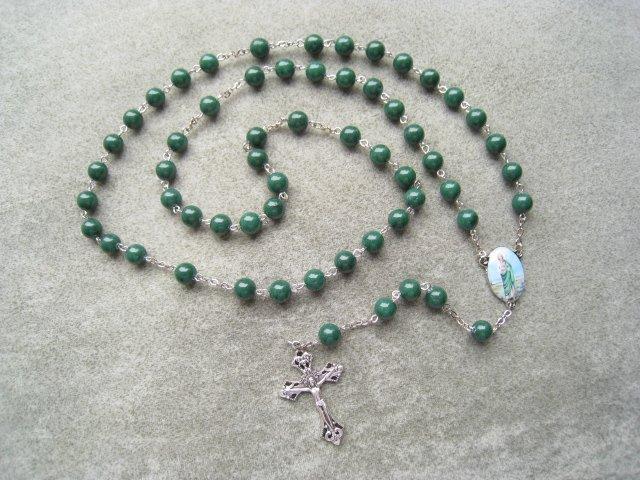 Green Mountain Jade Saint Jude Rosary Silver Crucifix 8mm Beads