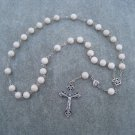 Natural Fossil Gemstone Anglican Rosary Silver Crucifix 8mm Beads