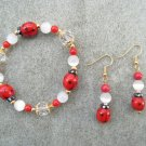 Red Ladybug Crystal Glass Beaded Bracelet Ear Ring Set