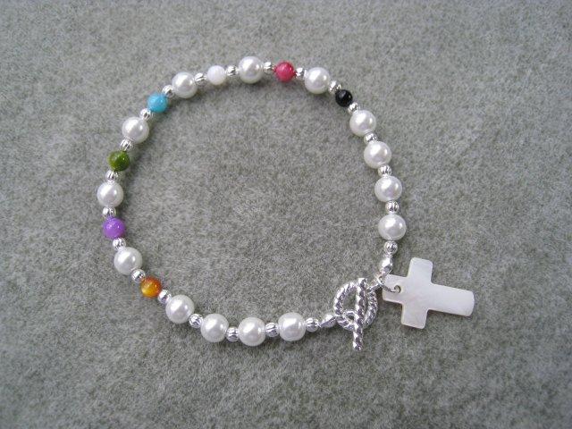 Christian Salvation Bracelet Czech Pearl Bead Mother of Pearl Cross #6
