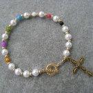 Christian Faith Salvation Bracelet Pearl Glass Beads #4