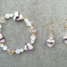 Pink White Hearts Crystal Cats Eye Bead Bracelet Ear Ring Set
