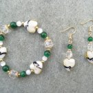 Champagne Yellow Heart Green Cats Eye Bracelet Ear Ring Set