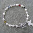Christian Faith Salvation Bracelet Pearl Glass Crystals MOP Cross #3