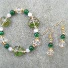 Green Hearts Green & White Cats Eye Glass Beaded Bracelet Ear Ring Set