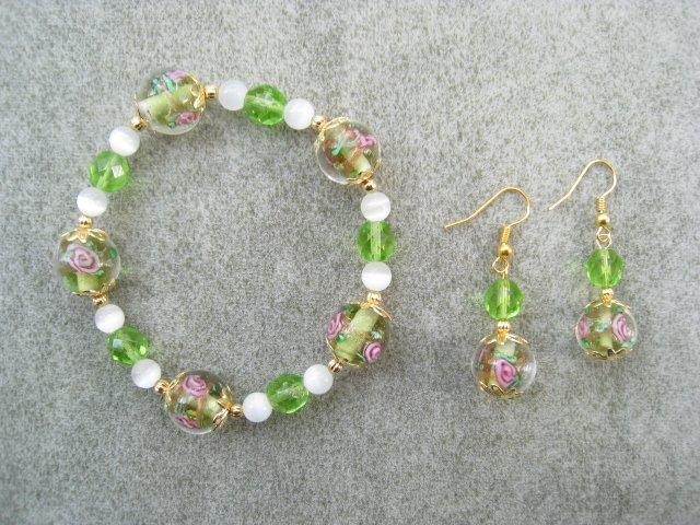 Green Pink Floral White Cats Eye Green Crystal Glass Bracelet Ear Ring Set