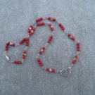 Red Fossil Gemstone Bead Necklace with Silver Heart