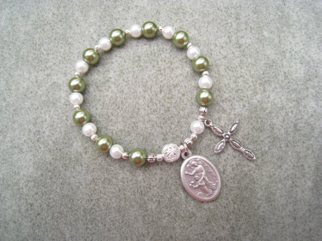 Czech Green & White Pearl Glass Rosary Bracelet with Guardian Angel Holy Family Medal
