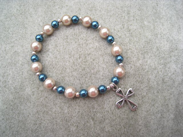 Czech Almond & Teal Czech Pearl Glass Bracelet with Silver Cross