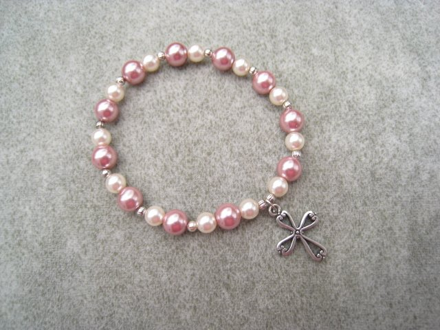Czech Rose & Ivory Czech Pearl Glass Bracelet with Silver Cross