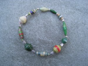 Green Beaded Bangle Stretch Bracelet BeadforLife Silver Accents #8