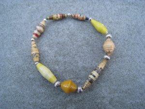 Yellow Beaded Bangle Stretch Bracelet BeadforLife Silver Accents #3