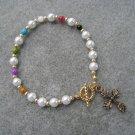 Christian Faith Salvation Bracelet Czech Pearl Glass Mother of Pearl beads #13