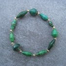 Green Beaded Bangle Stretch Bracelet BeadforLife Gold Accents #16