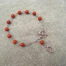 One Decade Caramel Brown Fossil Gemstone Silver Open Fish Charm Christian Faith Rosary Bracelet