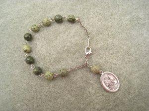 Russian Jade Gemstone Decade Roasry Bracelet Guardian Angel Medal 8mm beads