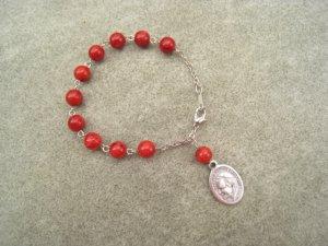 One Decade Red Sponge Coral Rosary Bracelet Pope John Paul II Medal 8mm beads