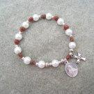 Czech White Pearl Glass Poppy Glass Heart Beads Rosary Bracelet Vintage Sacred Heart of Jesus Medal
