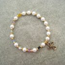 Christian Faith Salvation Stretch Bracelet Czech Glass Pearls Crystals Gold-toned Cross #G1