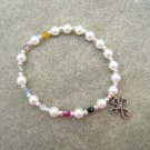 Christian Salvation Stretch Bracelet Czech Pearl Glass Crystals Silver Cross #S3