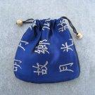 Blue Brocade Drawstring Tie Pouch Jewelry Rosary Cosmetics Gifts Trinkets Keepsake