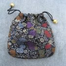 Black Floral Brocade Drawstring Tie Pouch Jewelry Rosary Cosmetics Gifts Trinkets Keepsake