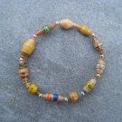 Yellow Beaded Bangle Stretch Bracelet BeadforLife Gold Accents #20