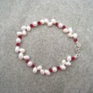 White Freshwater Pearls Garnet Swarovski Crystal Bracelet Sterling Silver Clasp