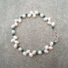 White Freshwater Pearls Emerald Swarovski Crystal Bracelet Sterling Silver Clasp