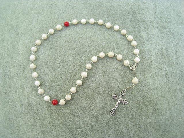 Natural Fossil Gemstone Orthodox Chotki Prayer Beads Silver Crucifix 33 Beads