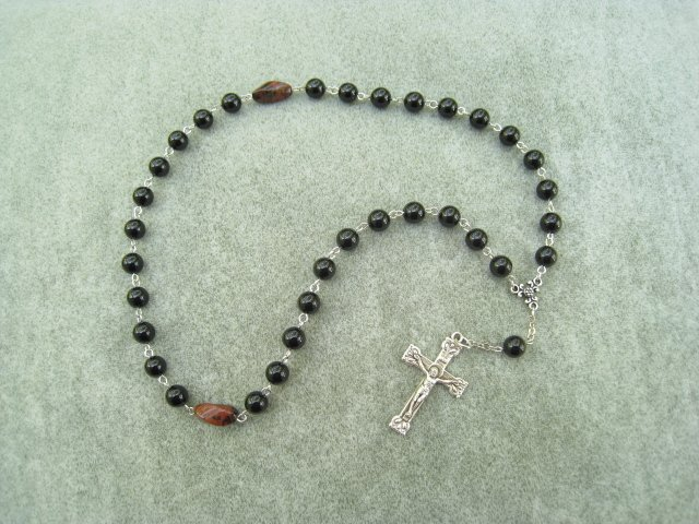 Black Onyx Gemstone Orthodox Chotki Prayer Beads Silver Crucifix 33 Beads