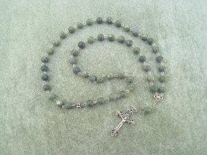 Russian Serpentine Gemstone Orthodox Chotki Prayer Beads Silver Crucifix 50 Beads