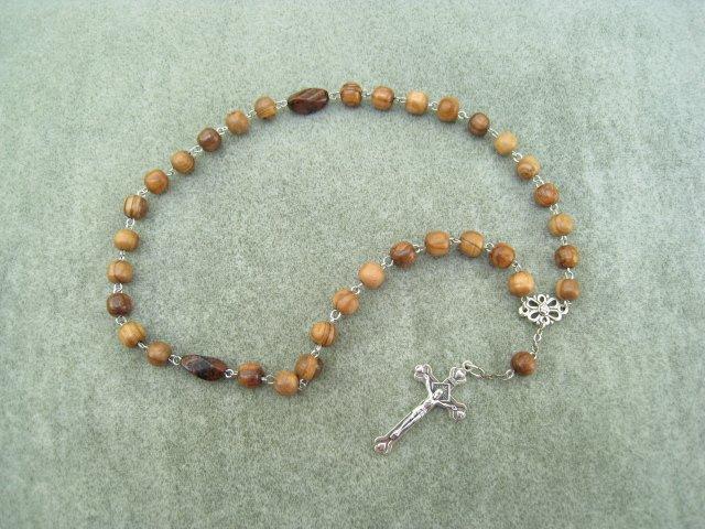 Olive Wood Orthodox Chotki Prayer Beads Silver Crucifix 33 Beads