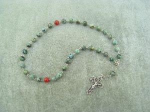 Turquoise Gemstone Orthodox Chotki Prayer Beads Silver Crucifix 33 Beads