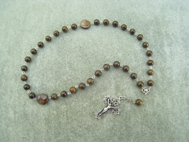 Bronzite Gemstone Orthodox Chotki Prayer Beads Silver Crucifix 33 beads