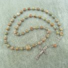 Autumn Jasper Gemstone Orthodox Chotki Prayer Beads Silver Crucifix 50 beads