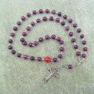 Plum Fossil Gemstone Orthodox Chotki Prayer Beads Silver Crucifix 50 beads