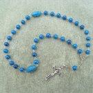 Blue Fossil Gemstone Orthodox Chotki Prayer Beads Silver Crucifix 33 beads