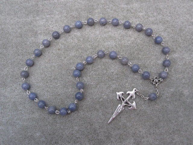 Blue Aventurine Gemstone Orthodox Chotki Prayer Beads Silver Crucifix 33 beads