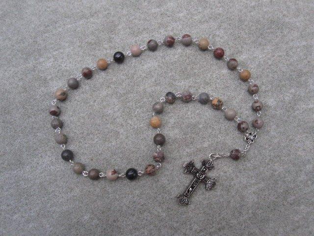 Crazy Horse Stone Black Onyx Orthodox Chotki Prayer Beads Silver Cross 33 beads