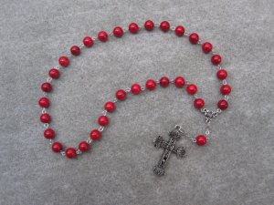 Red Fossil Gemstone Orthodox Chotki Prayer Beads Silver Cross 33 Beads
