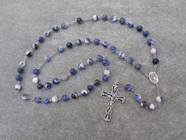Sodalite Gemstone Rosary Saint Rita Center Silver Crucifix 8mm Beads