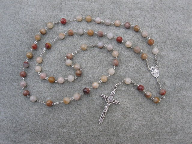 Colonial Jasper Gemstone Saint Francis Rosary Silver Cross 8mm Beads