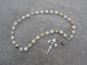 Italian Onyx Gemstone Orthodox Chotki Prayer Beads Silver Crucifix 33 Beads