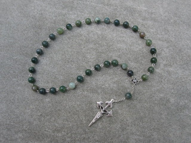 Moss Agate Gemstone Orthodox Chotki Prayer Beads Silver Crucifix 33 Beads
