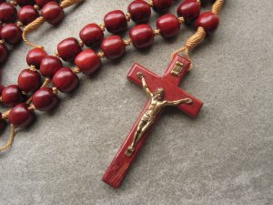 Brazilian Cherry Wood Wall Rosary Brazilian Cherry Wood Crucifix with a Gold Tone Corpus