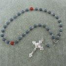 Blue Coral Gemstone Orthodox Chotki Prayer Beads Silver Crucifix 33 Bead